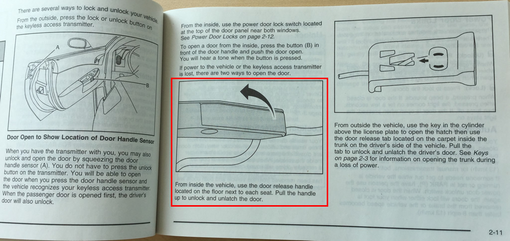 Page 2-11 of the 2008 Corvette Owner's Manual showing the door release lever.