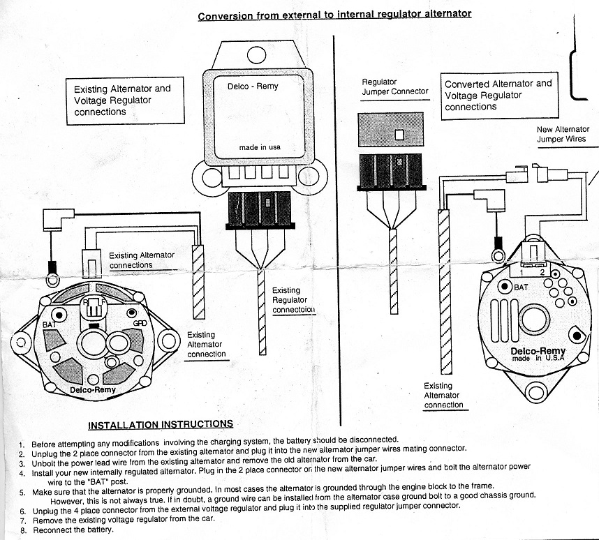 C2 Wiring Diagram/Instructions Needed for 65 327Alternator with