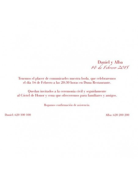 Exclusiva invitación para boda de formato horizontal