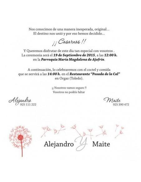 Invitación para boda formato cuadrado diente de León