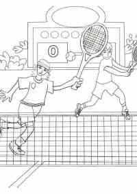 Partita di doppio di tennis da colorare