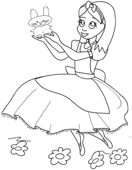 Alice Nel Paese Delle Meraviglie Disegno Da Colorare
