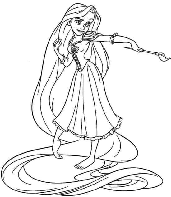 Rapunzel che dipinge da colorare
