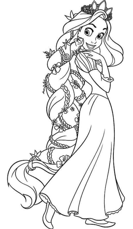La principessa Rapunzel da colorare