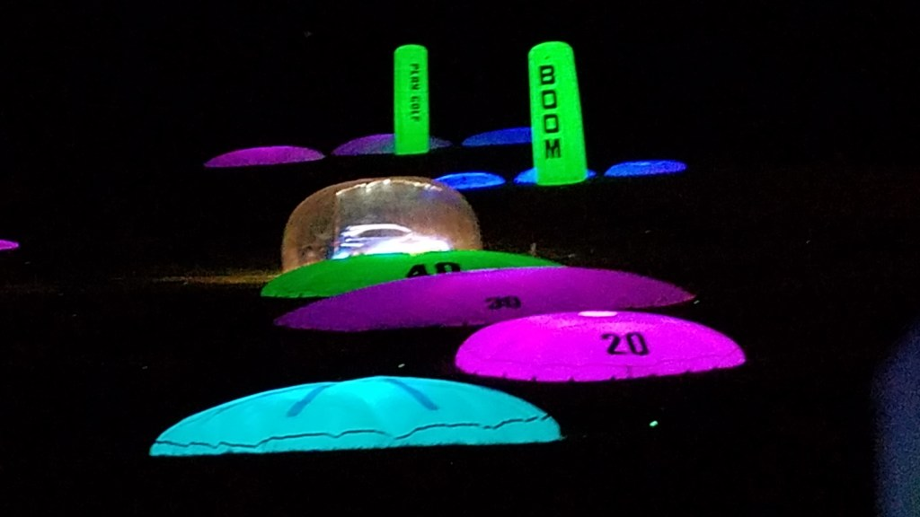 night golf targets on a driving range