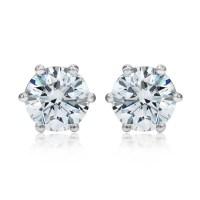 2.00ctw Round Brilliant Cut Diamond Platinum Stud Earrings ...