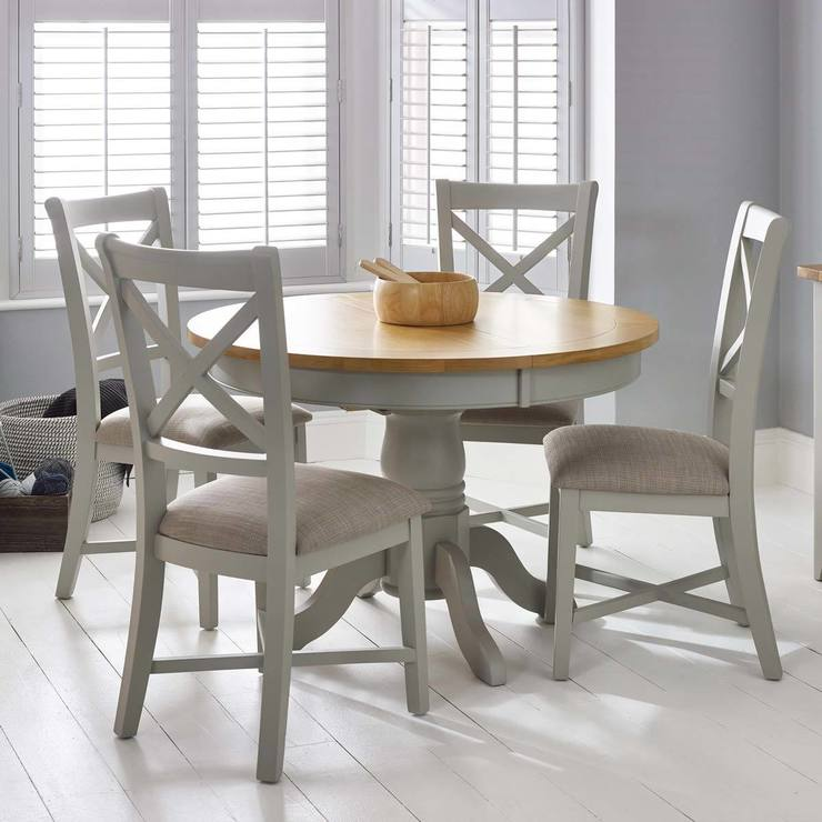 Bordeaux Painted Light Grey Round Extending Dining Table