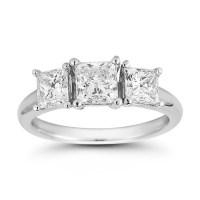 2.00ctw Princess Cut 3 Stone Diamond Trilogy Ring ...