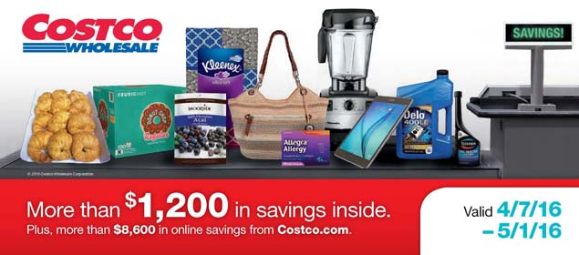 April 2016 Costco Coupon Book Cover