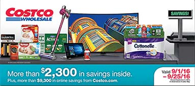September 2016 Costco Coupon Book Cover