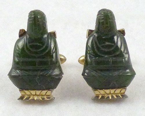 Swank Jade Buddha Cuff Links Garden Party Collection