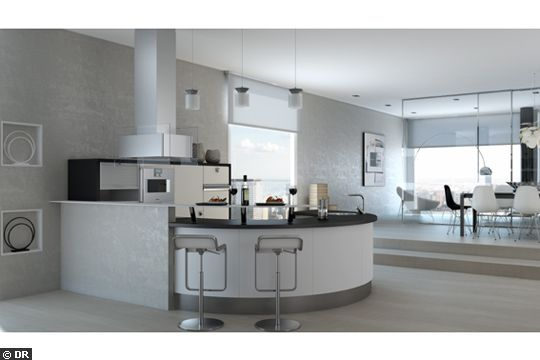Cuisine #design arrondie noire et blanche Giro de Schmidt - modele de cuisine americaine