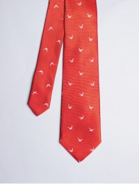 Bright red tie with seabirds patterns