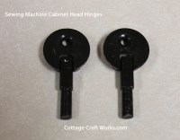 Sewing machine cabinet mounting head hinges