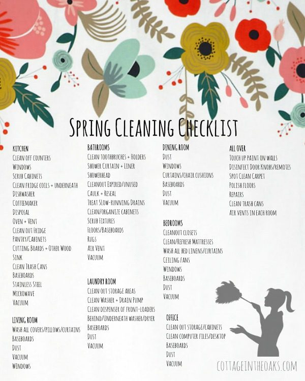 Spring Cleaning Checklist + FREE Printable! - Cottage in the Oaks