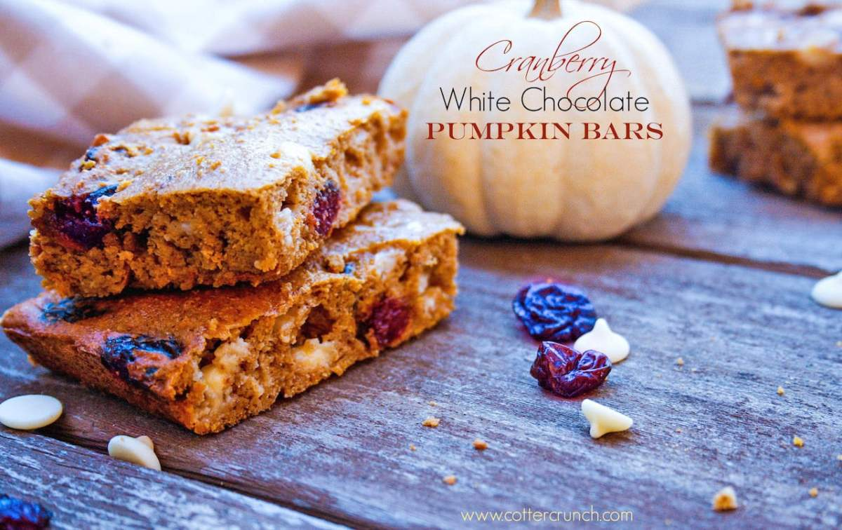 Cranberry White Chocolate Pumpkin Blondie Bars {Gluten Free}
