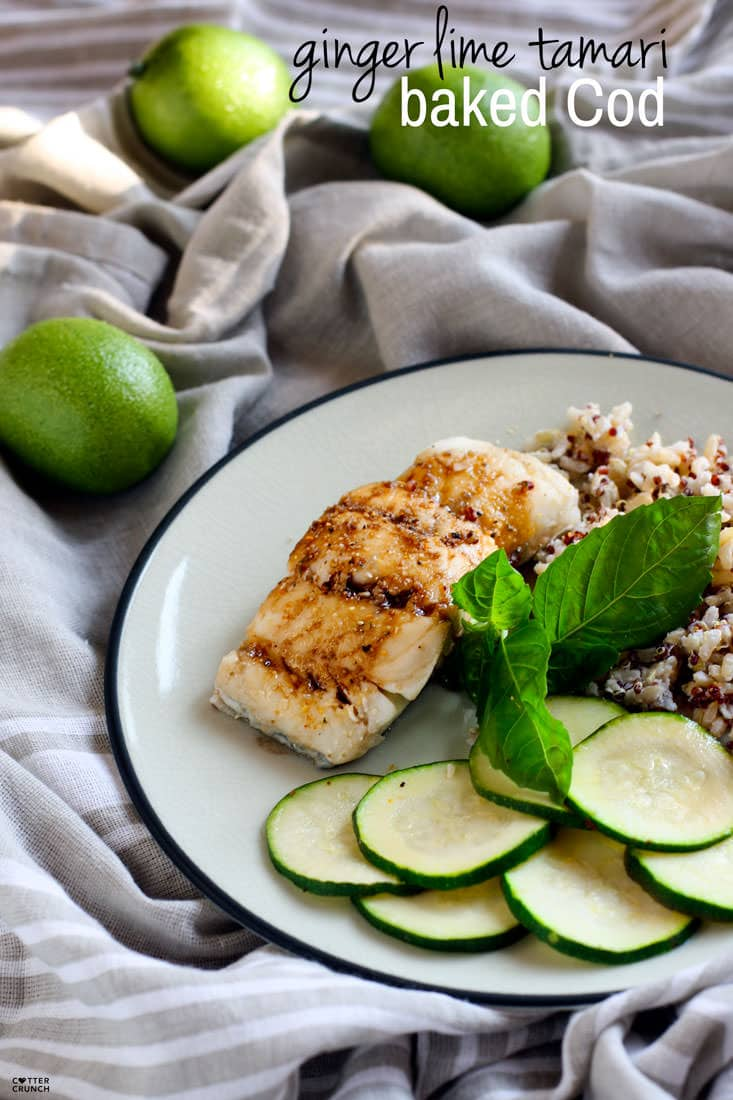 Ginger lime tamari gluten free baked cod cotter crunch for Bake cod fish