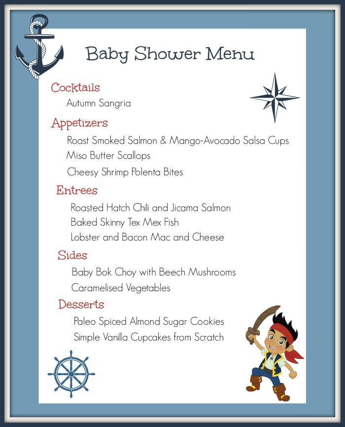 Sea themed Menu for party or baby shower(f)