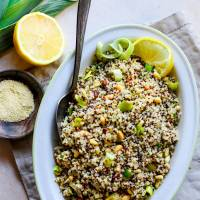 Honey Toasted Pine Nut and Leek Quinoa Salad {Gluten Free}