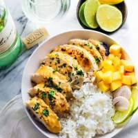 Gluten Free Chili Lime Mango Marinated Chicken Bowls plus Tips for Cooking with Wine!