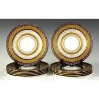 Set of 12 Wedgewood Porcelain Dinner Plates   Cottone Auctions