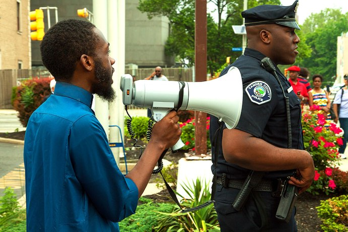 Protester and Cop in Camden, NJ