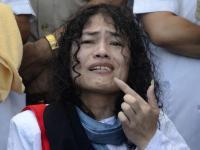 Irom Sharmila ends her 16-year fast by tasting honey, in Imphal on Tuesday. Photo: Ritu Raj Konwar/The Hindu