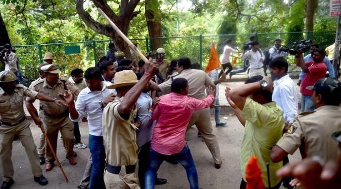 Protest against Amnesty International India in Bengaluru