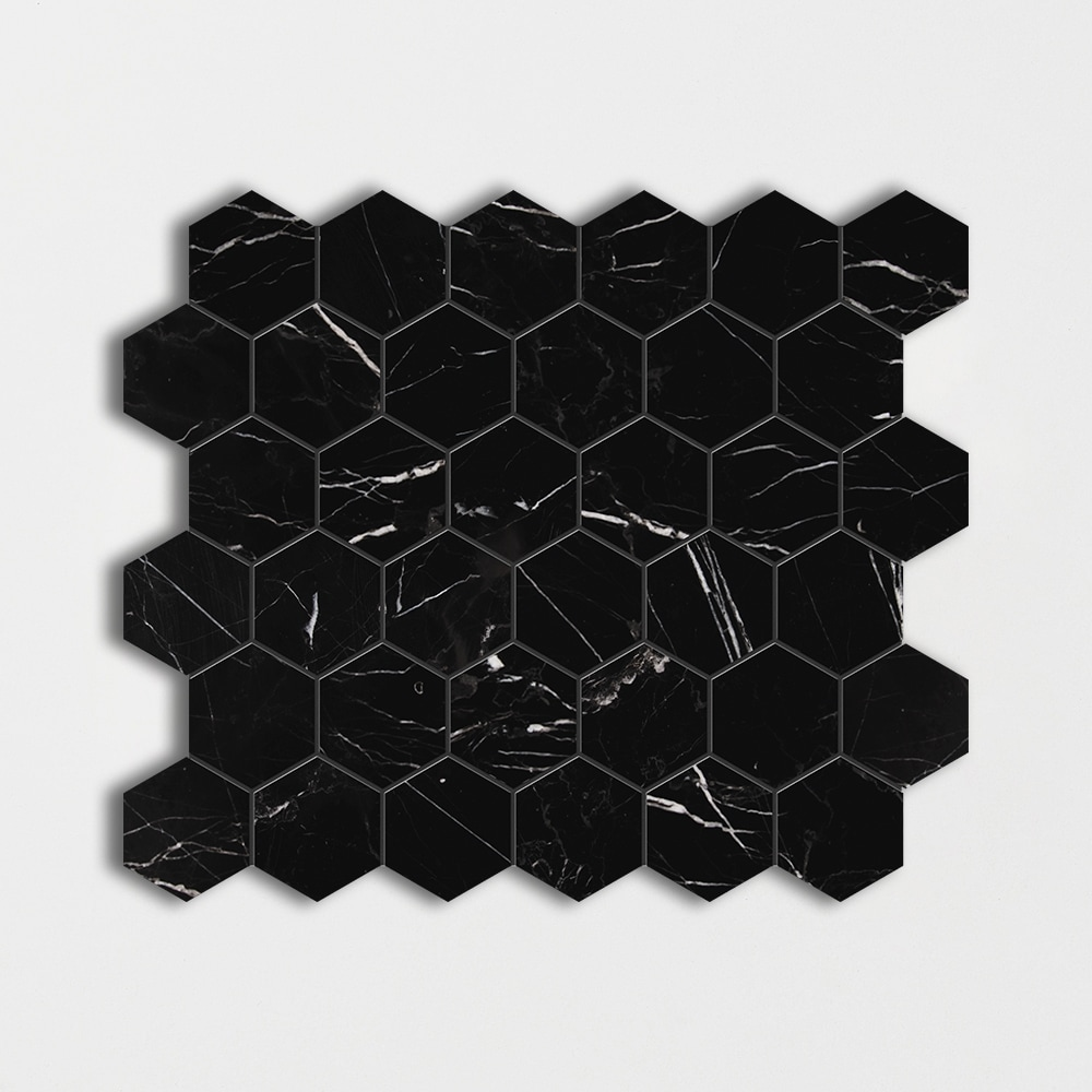 Black Honed Hexagon Marble Mosaics 12x12 Country Floors