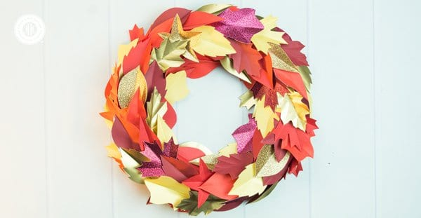 Autumn Paper Leaf Wreath Paper Craft DIY Country Hill Cottage