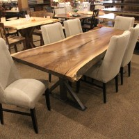 Walnut Live Edge Slab Table Set | Solid Hardwood Furniture ...
