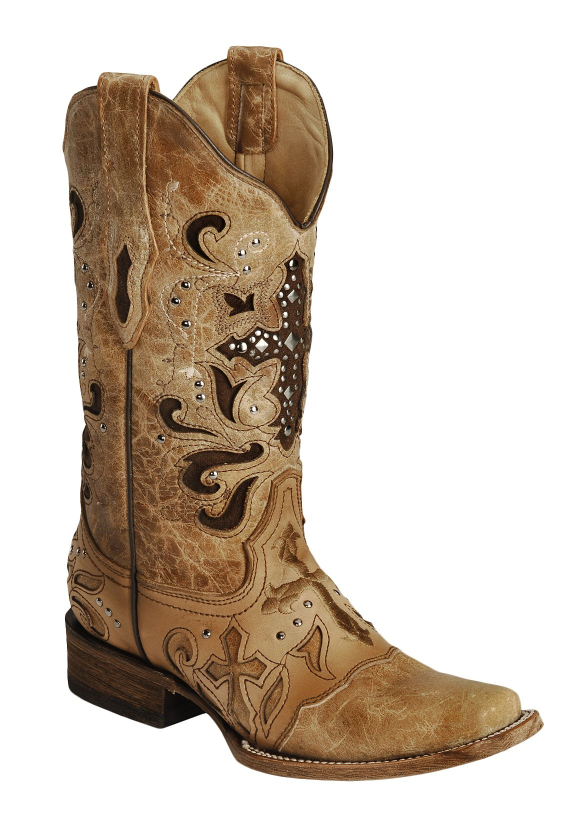 Corral Studded Cross Inlay Cowgirl Boots Square Toe