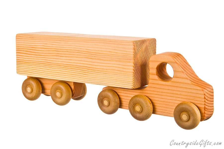 Wooden Toy Semi Truck with Box Trailer : Countryside Gifts, LLC