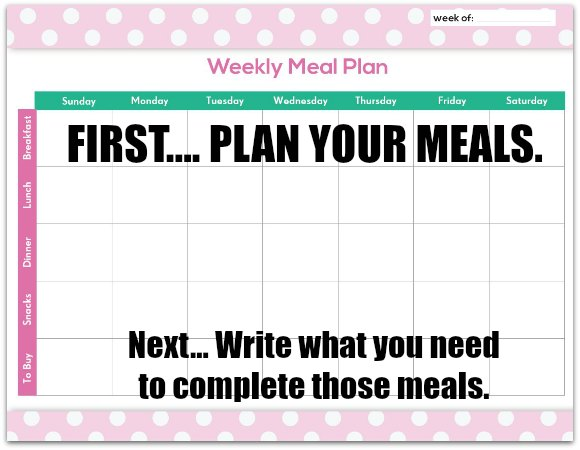 FREE Meal Planning Chart Printable - One Crazy Mom - online menu planner free
