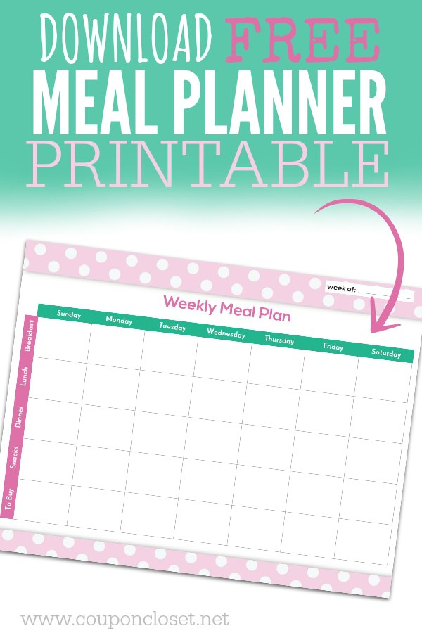 FREE Meal Planning Chart Printable - One Crazy Mom - weekly menu