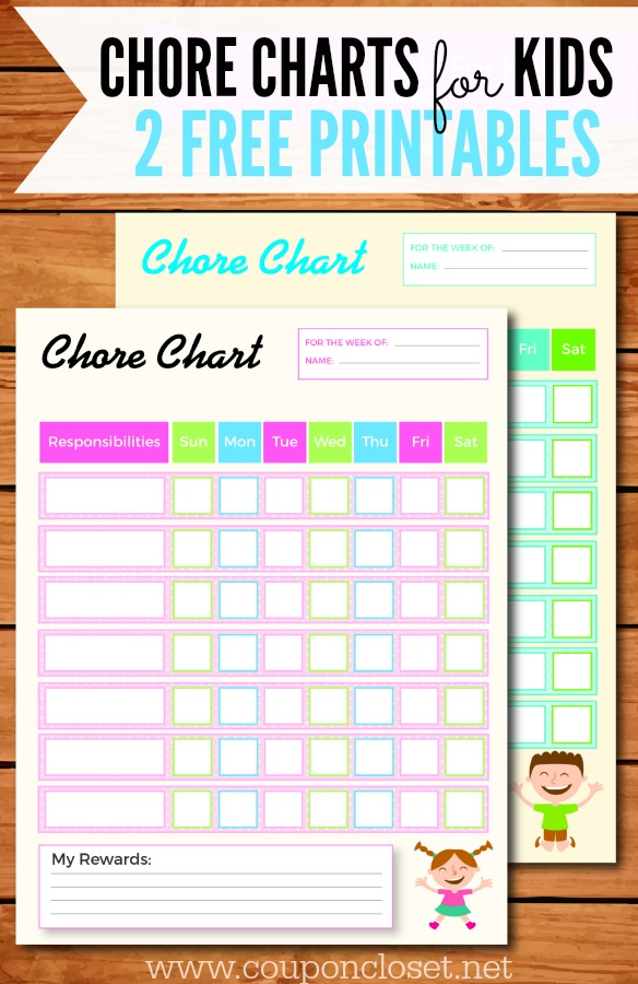 FREE Printable Chore Charts for Kids - One Crazy Mom