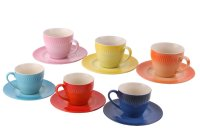 Amazon: Set of 6 Colorful Ceramic Espresso Cups with ...