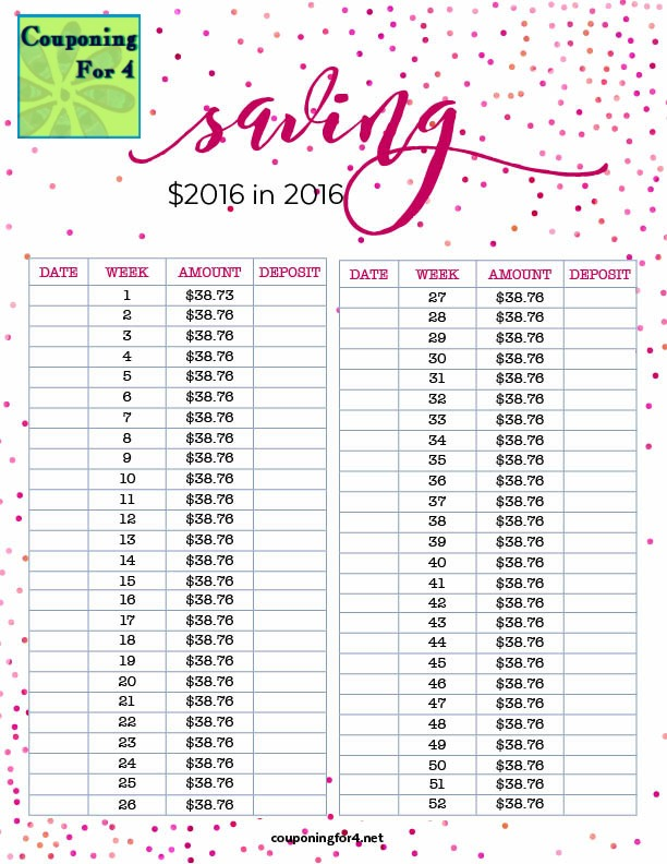 couponing for 4 saving 2016 in 2016 plan and chart