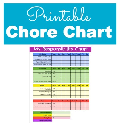 Responsibility and Chore Chart for Kids with Printable Chore Chart - sample chore chart