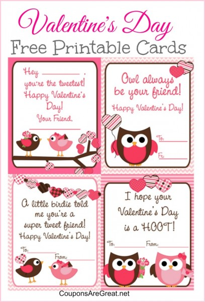 Free Printable Valentine\u0027s Day Cards for Kids with Owls and Birds