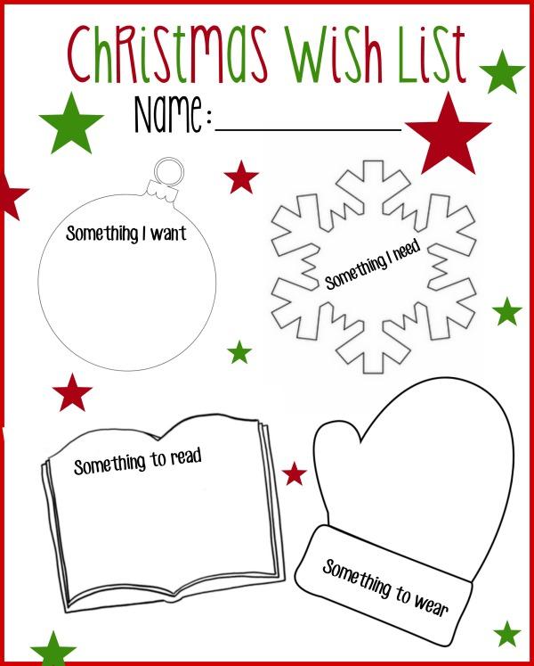 Printable Christmas Wish List Want, Read, Wear, Need