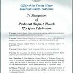 Piedmont Baptist Church Appreciation Day Proclamation from the Jefferson County Mayor, Alan Palmieri