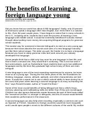 The Benefits Of Learning A Foreign Language Youngdoc