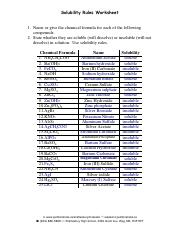 Solubility Rules Worksheet Answers Solubility Rules
