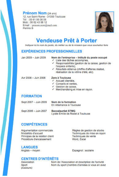 cv exemple pole emploi vendeuse