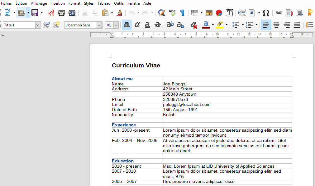 comment faire un cv sur libreoffice writer
