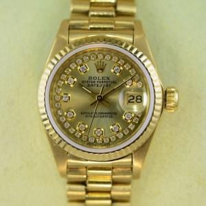 Rolex Lady Datejust 18k Gelbgold und Diamanten