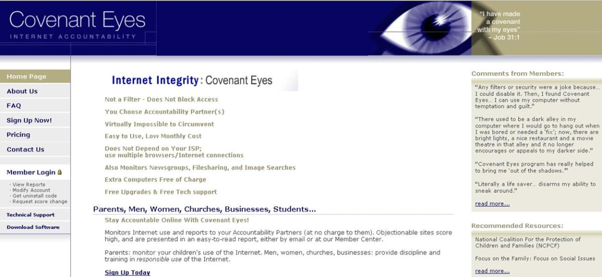 Covenant Eyes Website Feb 2005