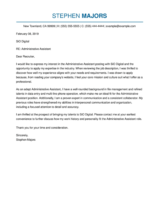 general administrative assistant cover letter