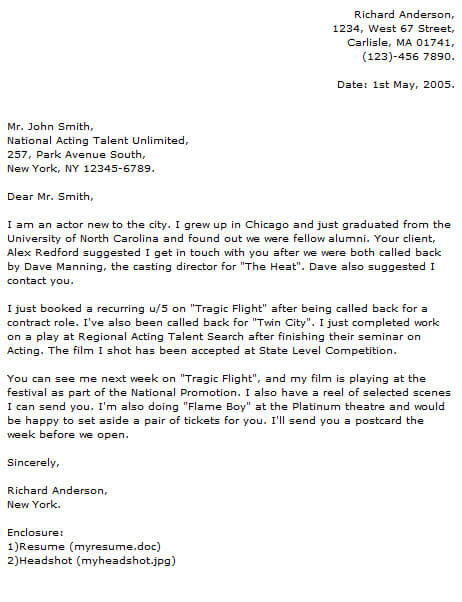 actor cover letter to casting directors